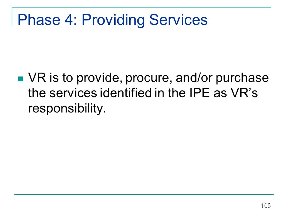 VR Services Record VR must maintain a record which contains information on each individual who applies and/or receives services:  Documentation supporting eligibility or ineligibility.