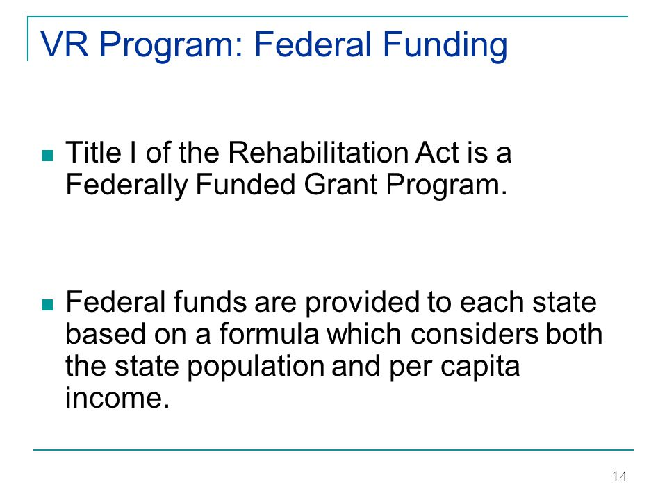 VR Program: Federal Funding State must match the federal funds given to the state at 21.3%.