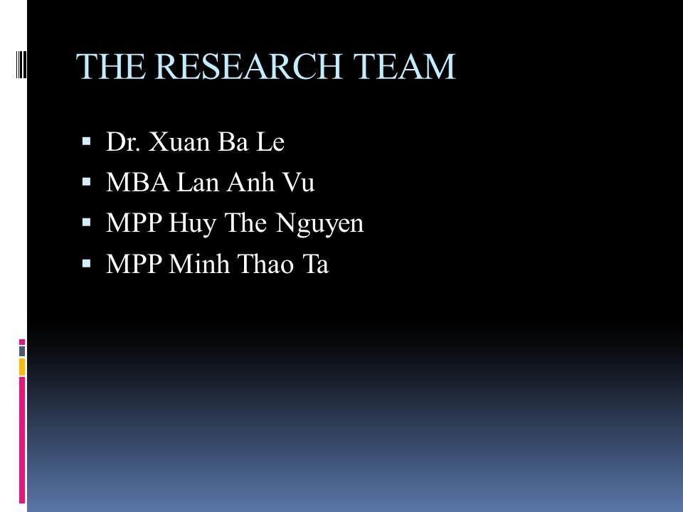 THE RESEARCH TEAM  Dr. Xuan Ba Le  MBA Lan Anh Vu  MPP Huy The Nguyen  MPP Minh Thao Ta