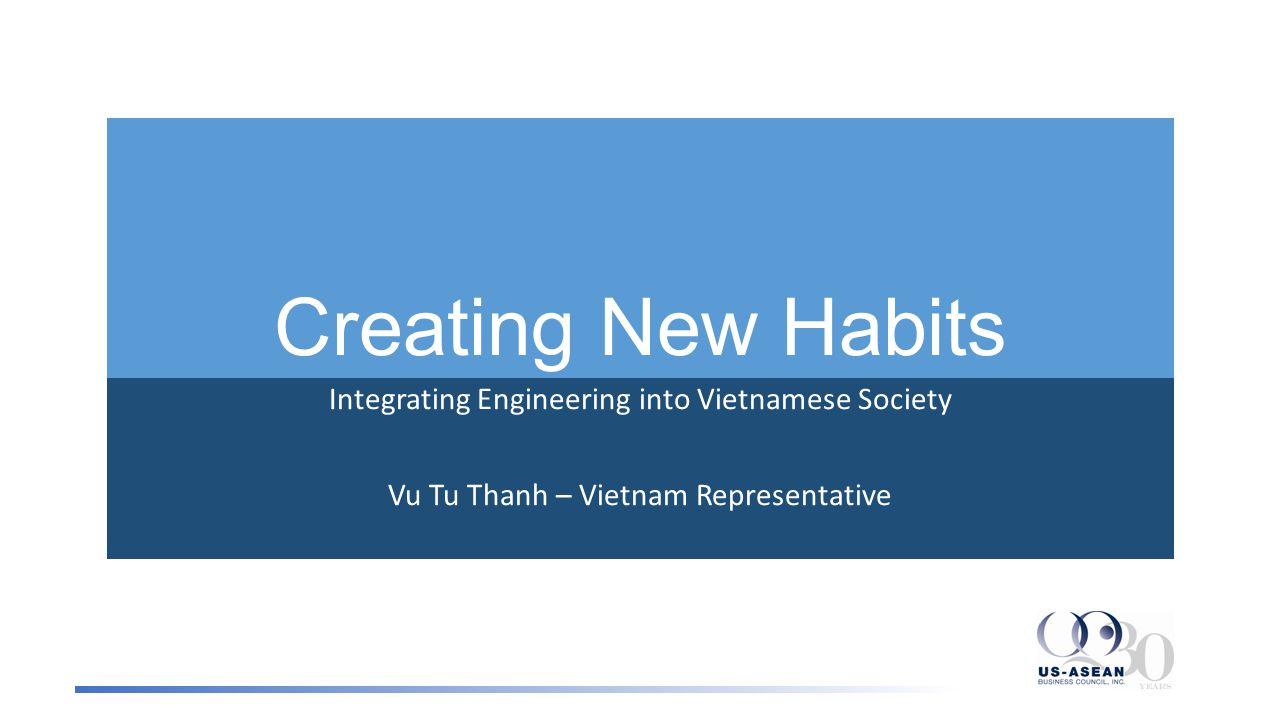 Creating New Habits Integrating Engineering into Vietnamese Society Vu Tu Thanh – Vietnam Representative