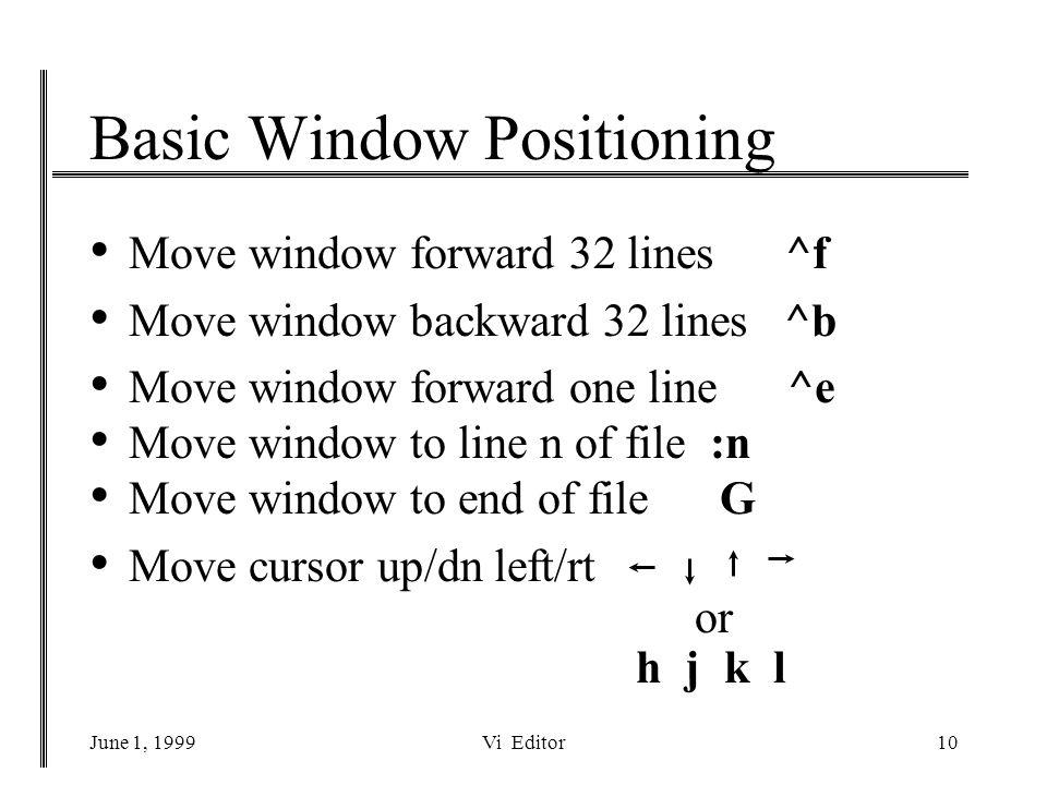 June 1, 1999Vi Editor10 Basic Window Positioning Move window forward 32 lines ^f Move window backward 32 lines ^b Move window forward one line ^e Move window to line n of file :n Move window to end of file G Move cursor up/dn left/rt or h j k l