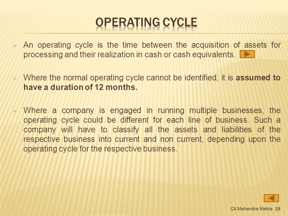 An operating cycle is the time between the acquisition of assets for processing and their realization in cash or cash equivalents.