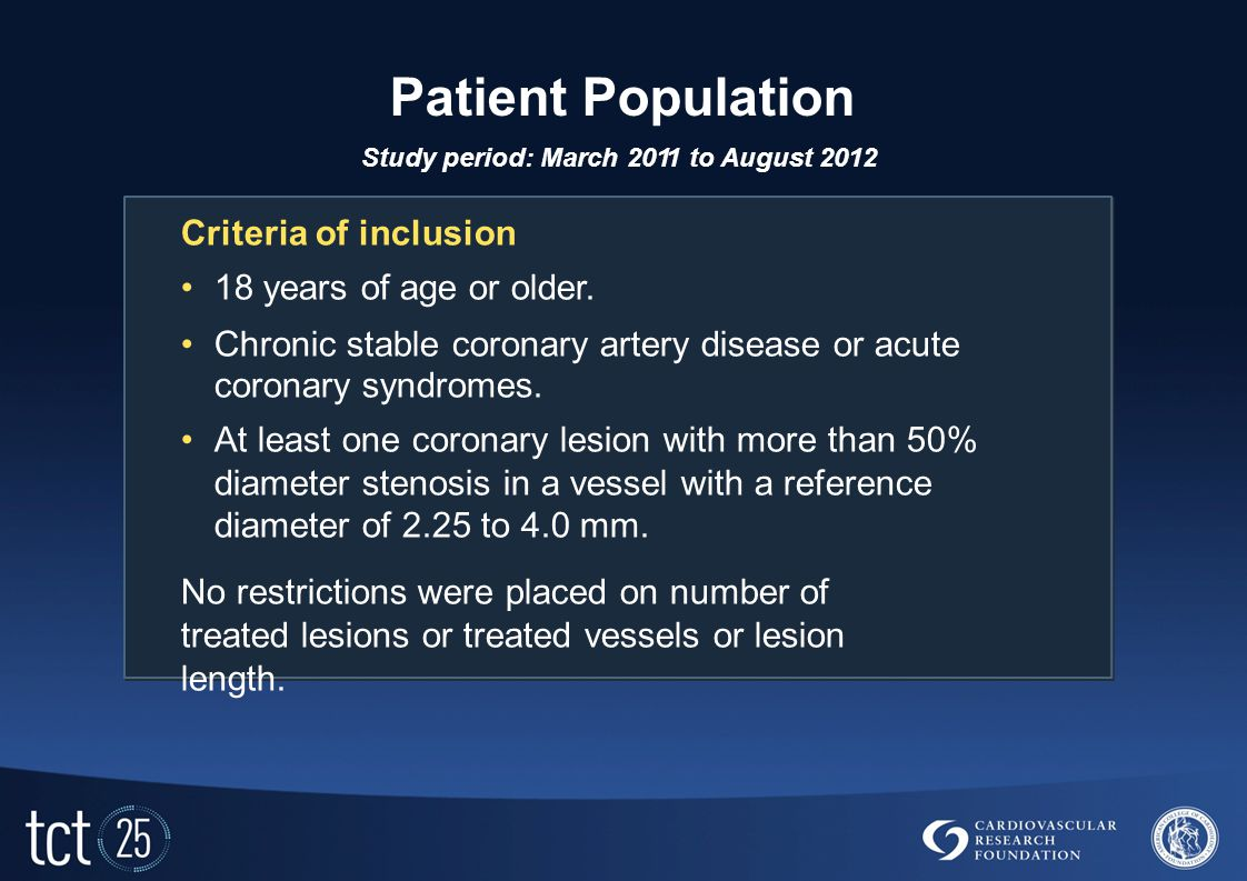 Patient Population Study period: March 2011 to August 2012 Criteria of inclusion 18 years of age or older.