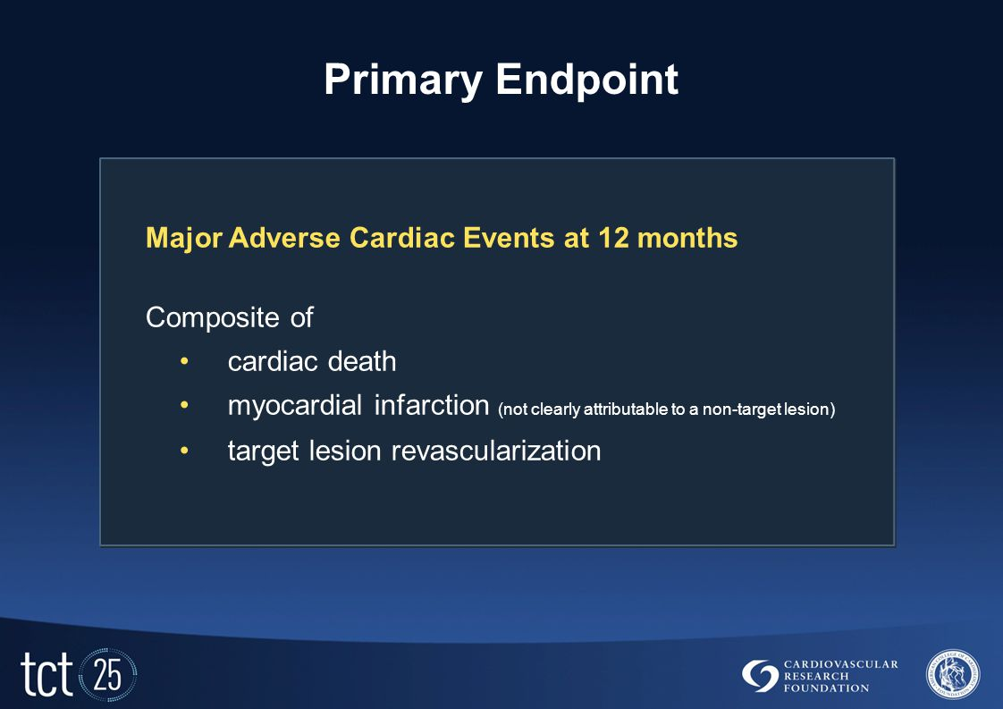 Primary Endpoint Major Adverse Cardiac Events at 12 months Composite of cardiac death myocardial infarction (not clearly attributable to a non-target lesion) target lesion revascularization