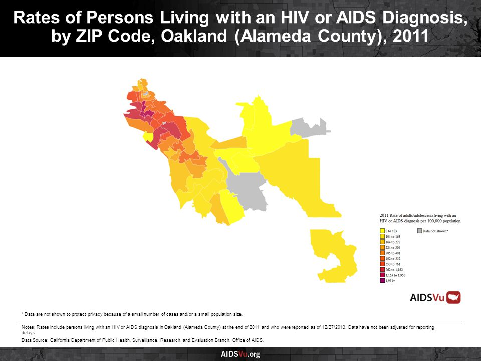 Rates of Persons Living with an HIV or AIDS Diagnosis, by ZIP Code, Oakland (Alameda County), 2011 Notes: Rates include persons living with an HIV or AIDS diagnosis in Oakland (Alameda County) at the end of 2011 and who were reported as of 12/27/2013.