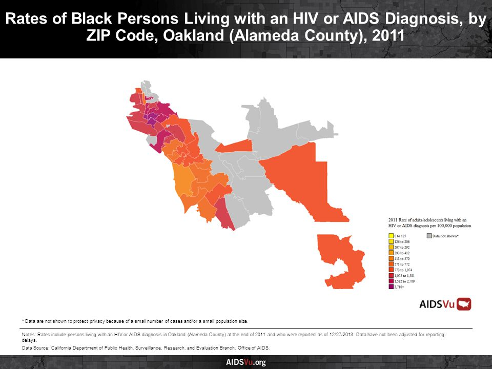 Rates of Black Persons Living with an HIV or AIDS Diagnosis, by ZIP Code, Oakland (Alameda County), 2011 Notes: Rates include persons living with an HIV or AIDS diagnosis in Oakland (Alameda County) at the end of 2011 and who were reported as of 12/27/2013.