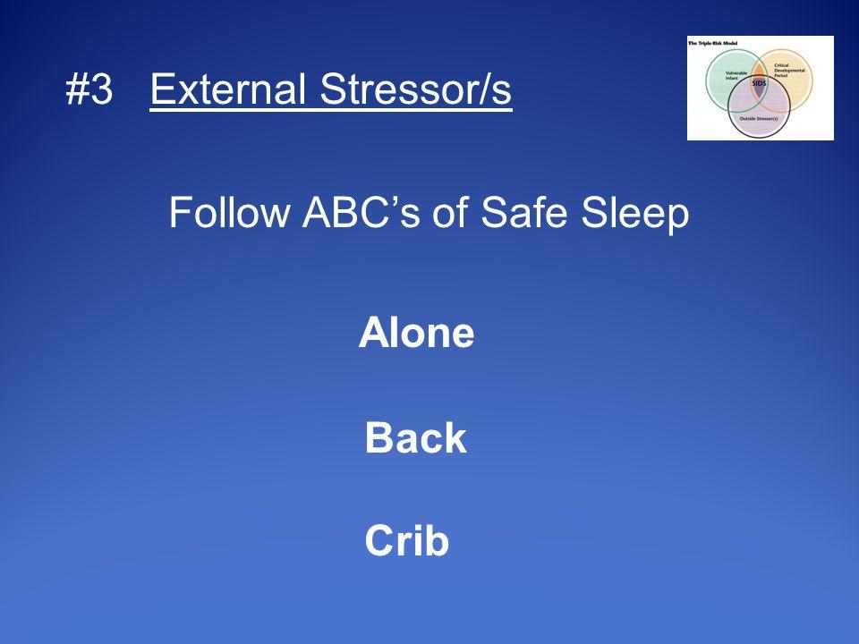 #3 External Stressor/s Follow ABC's of Safe Sleep Alone Back Crib