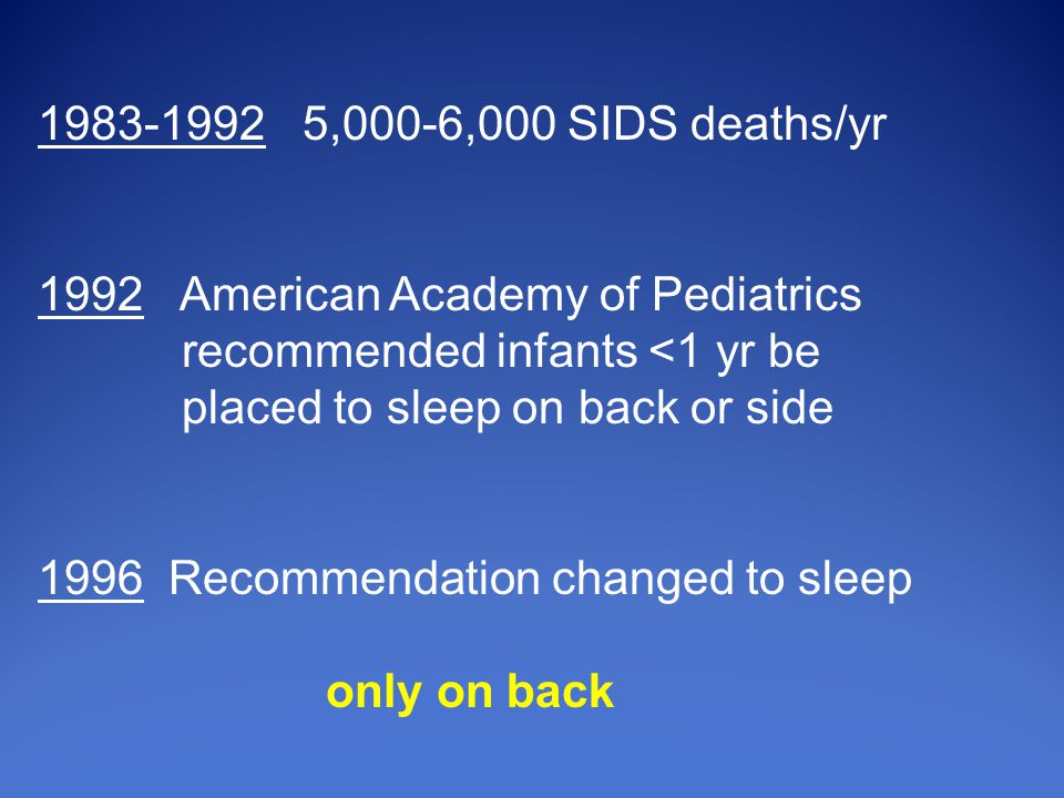 1983-1992 5,000-6,000 SIDS deaths/yr 1992 American Academy of Pediatrics recommended infants <1 yr be placed to sleep on back or side 1996 Recommendation changed to sleep only on back