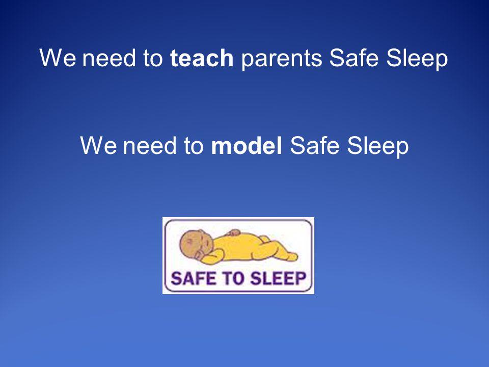 We need to teach parents Safe Sleep We need to model Safe Sleep