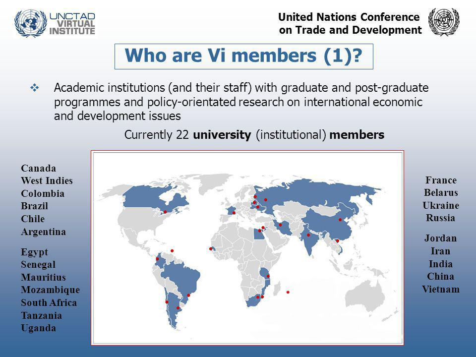 United Nations Conference on Trade and Development  Academic institutions (and their staff) with graduate and post-graduate programmes and policy-ori