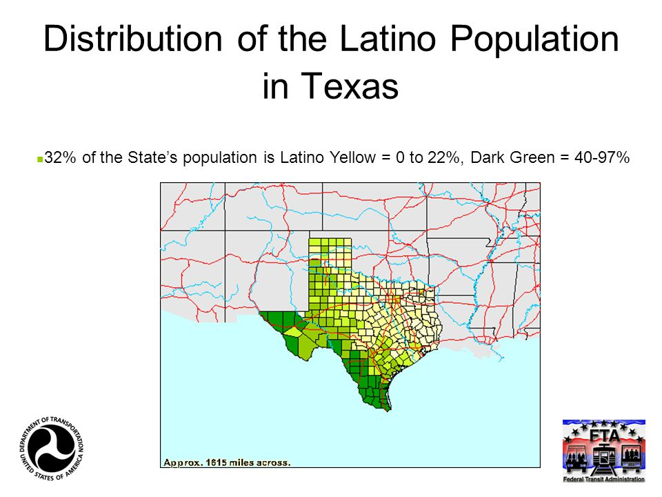 Distribution of the Latino Population in Texas 32% of the State's population is Latino Yellow = 0 to 22%, Dark Green = 40-97%
