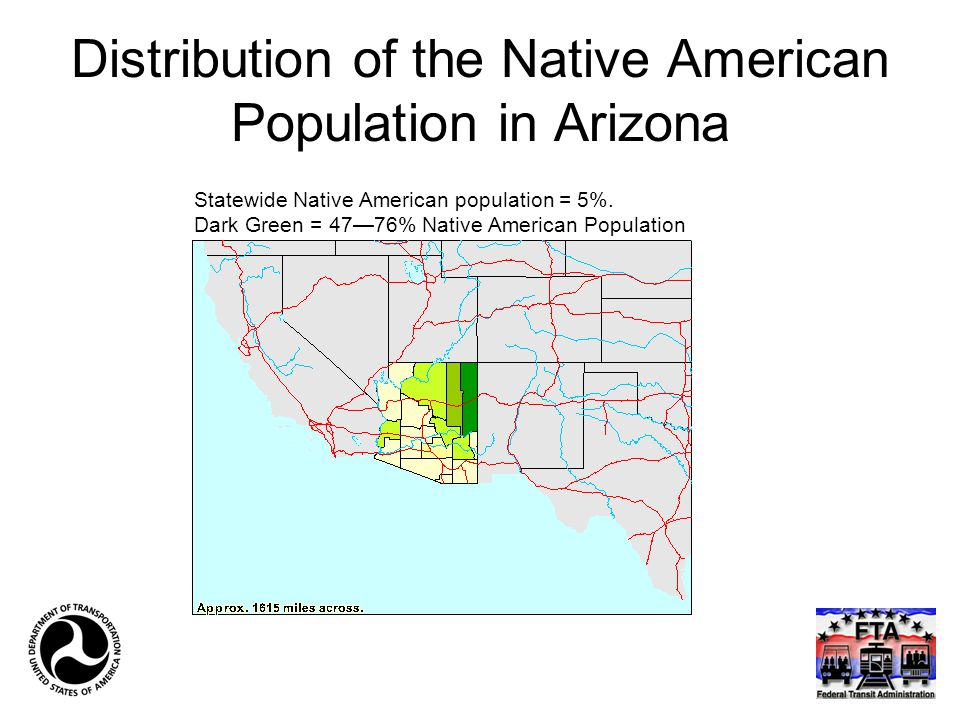 Distribution of the Native American Population in Arizona Statewide Native American population = 5%. Dark Green = 47—76% Native American Population