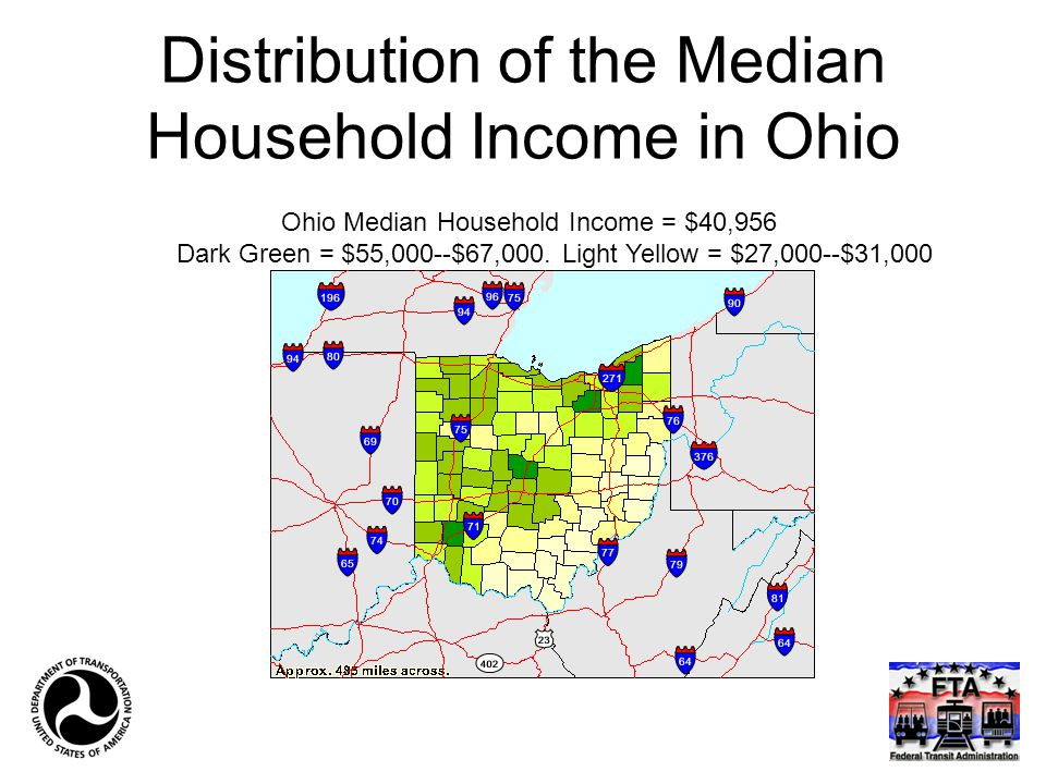 Distribution of the Median Household Income in Ohio Ohio Median Household Income = $40,956 Dark Green = $55,000--$67,000. Light Yellow = $27,000--$31,