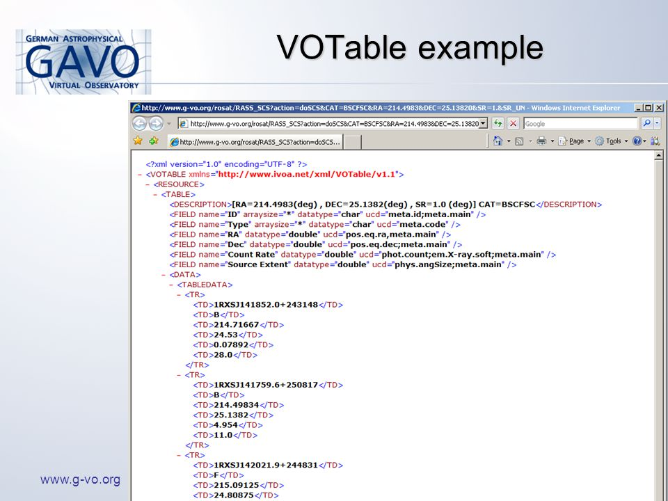 www.g-vo.org VOTable example