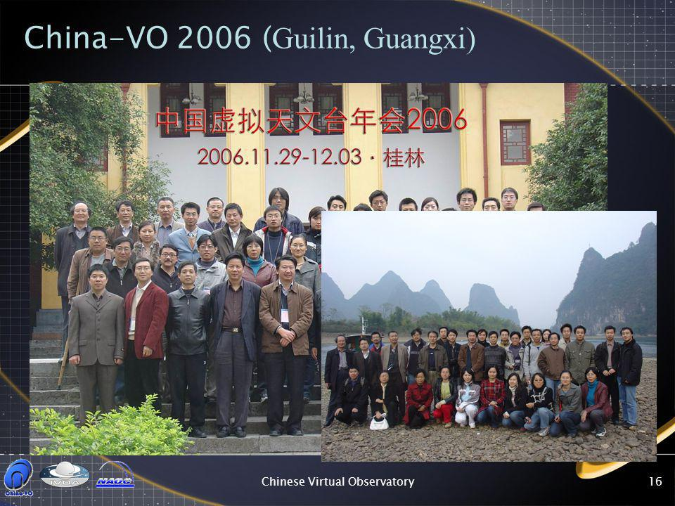 Chinese Virtual Observatory16 China-VO 2006 ( Guilin, Guangxi)