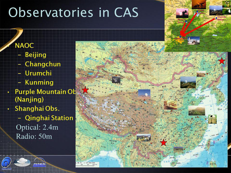 Chinese Virtual Observatory3 NAOC –Beijing –Changchun –Urumchi –Kunming Purple Mountain Obs. (Nanjing) Shanghai Obs. –Qinghai Station Observatories in