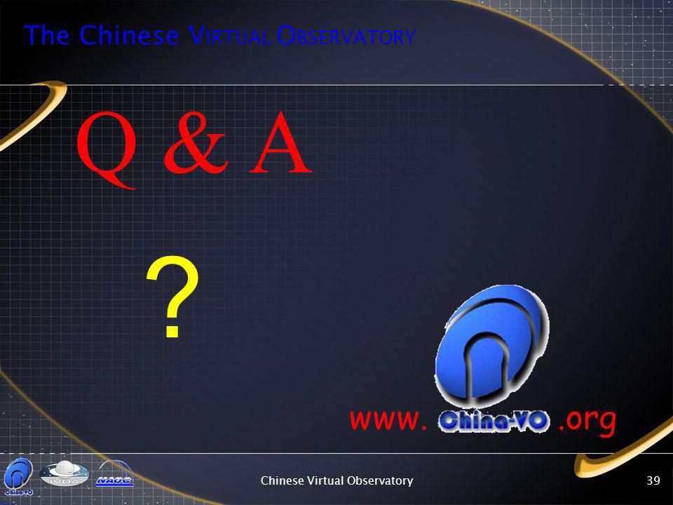 Chinese Virtual Observatory39 Q & A www..org The Chinese V IRTUAL O BSERVATORY