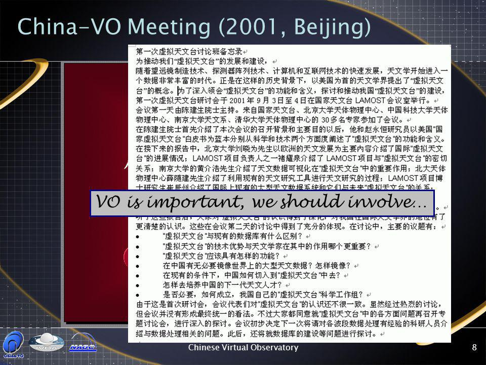 Chinese Virtual Observatory8 China-VO Meeting (2001, Beijing) VO is important, we should involve…