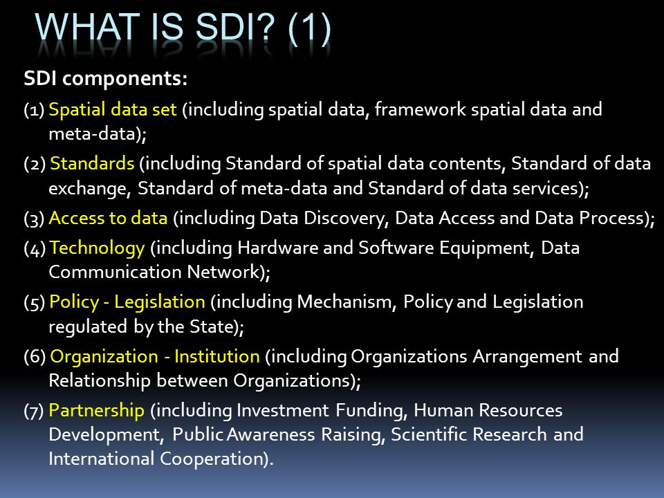 SDI components: (1) Spatial data set (including spatial data, framework spatial data and meta-data); (2) Standards (including Standard of spatial data contents, Standard of data exchange, Standard of meta-data and Standard of data services); (3) Access to data (including Data Discovery, Data Access and Data Process); (4) Technology (including Hardware and Software Equipment, Data Communication Network); (5) Policy - Legislation (including Mechanism, Policy and Legislation regulated by the State); (6) Organization - Institution (including Organizations Arrangement and Relationship between Organizations); (7) Partnership (including Investment Funding, Human Resources Development, Public Awareness Raising, Scientific Research and International Cooperation).