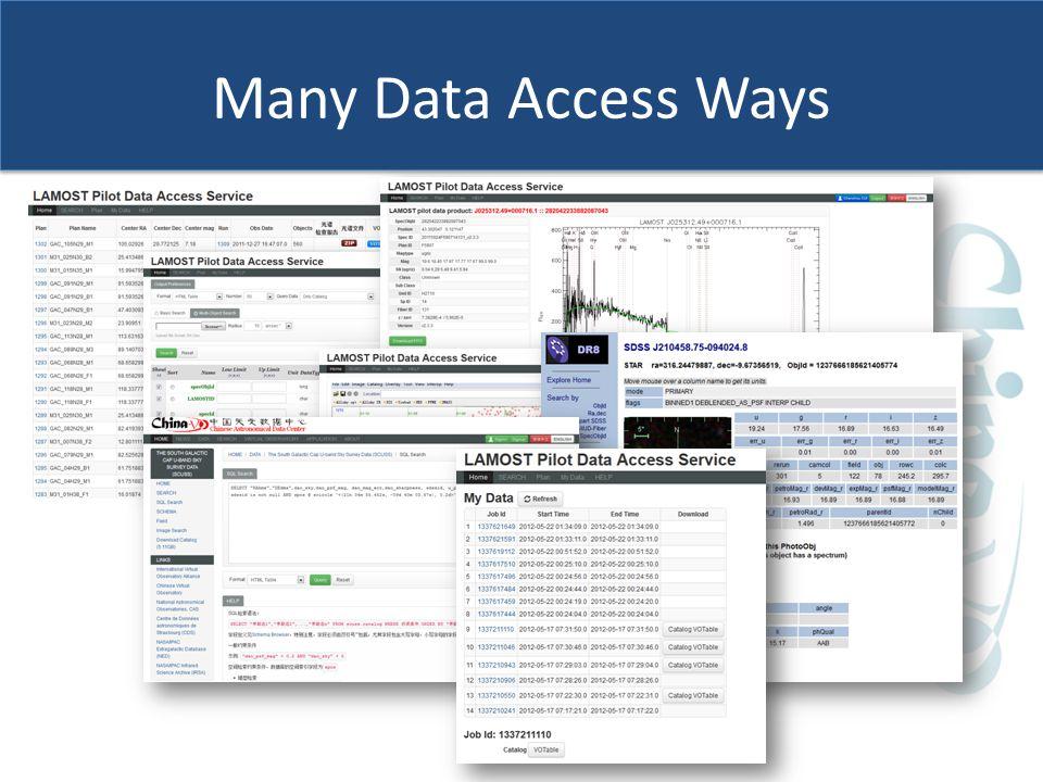 Many Data Access Ways Web form VO Interfaces CLI