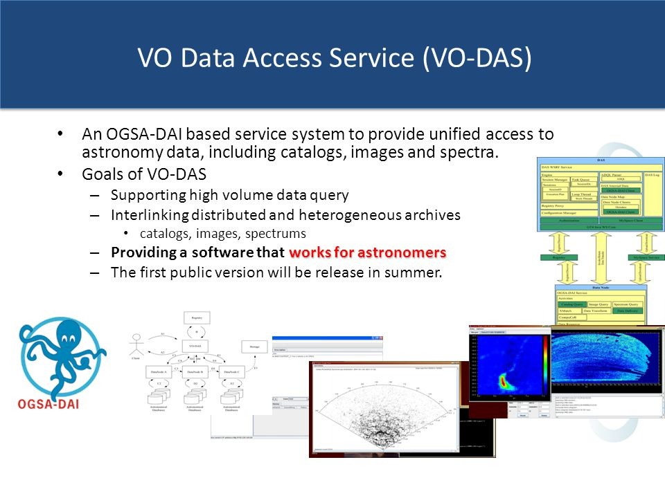 VO Data Access Service (VO-DAS) An OGSA-DAI based service system to provide unified access to astronomy data, including catalogs, images and spectra.