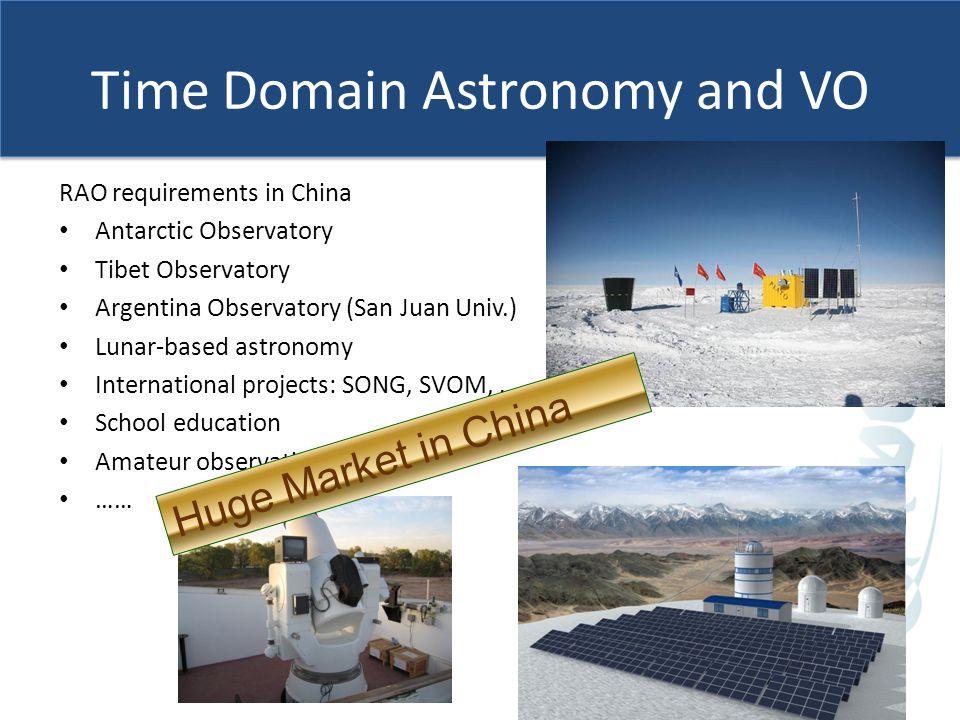 Time Domain Astronomy and VO RAO requirements in China Antarctic Observatory Tibet Observatory Argentina Observatory (San Juan Univ.) Lunar-based astronomy International projects: SONG, SVOM, … School education Amateur observation …… CSTAR Huge Market in China
