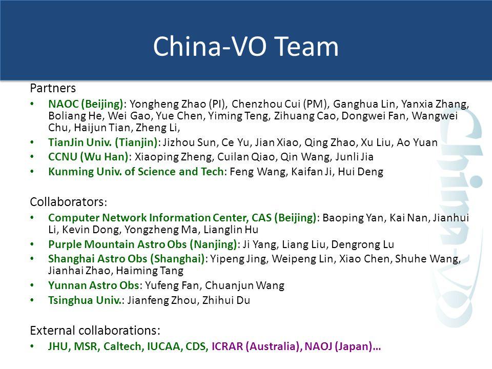 China-VO Team Partners NAOC (Beijing): Yongheng Zhao (PI), Chenzhou Cui (PM), Ganghua Lin, Yanxia Zhang, Boliang He, Wei Gao, Yue Chen, Yiming Teng, Zihuang Cao, Dongwei Fan, Wangwei Chu, Haijun Tian, Zheng Li, TianJin Univ.