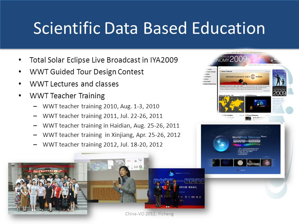 Scientific Data Based Education Total Solar Eclipse Live Broadcast in IYA2009 WWT Guided Tour Design Contest WWT Lectures and classes WWT Teacher Trai