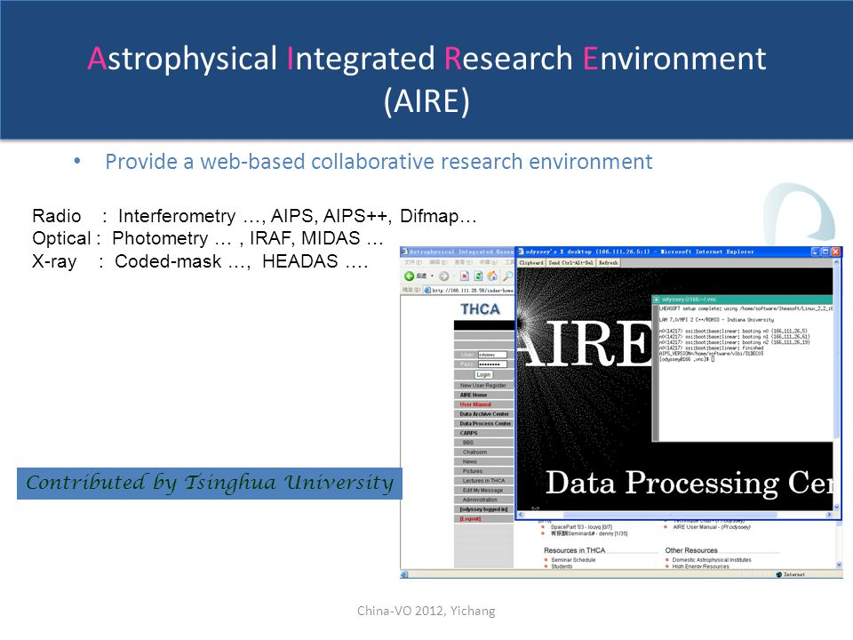 Astrophysical Integrated Research Environment (AIRE) Provide a web-based collaborative research environment Radio : Interferometry …, AIPS, AIPS++, Difmap… Optical : Photometry …, IRAF, MIDAS … X-ray : Coded-mask …, HEADAS ….