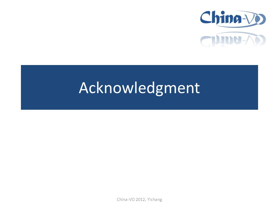 Acknowledgment China-VO 2012, Yichang