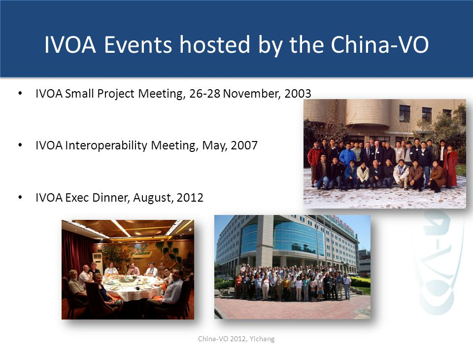 IVOA Events hosted by the China-VO IVOA Small Project Meeting, 26-28 November, 2003 IVOA Interoperability Meeting, May, 2007 IVOA Exec Dinner, August,