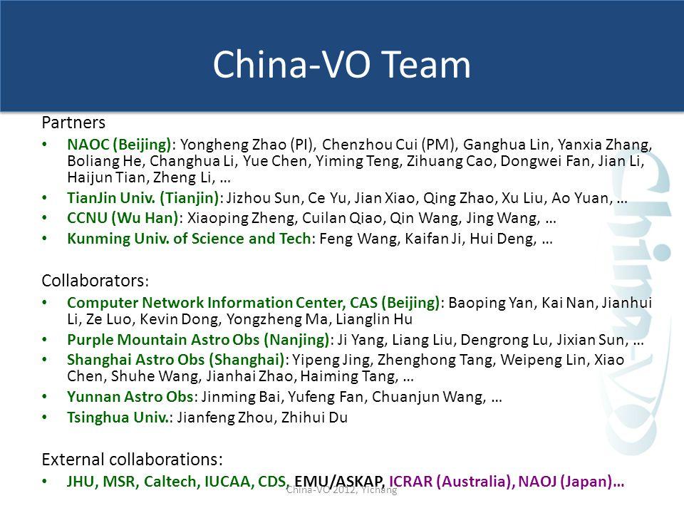 China-VO Team Partners NAOC (Beijing): Yongheng Zhao (PI), Chenzhou Cui (PM), Ganghua Lin, Yanxia Zhang, Boliang He, Changhua Li, Yue Chen, Yiming Ten