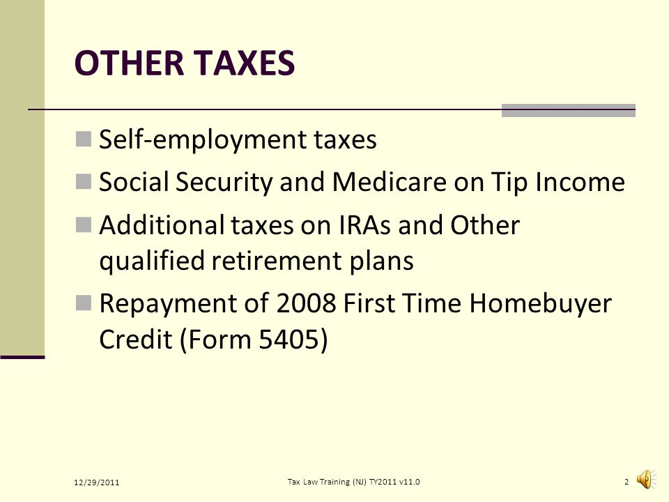 OTHER TAXES Self-employment taxes Social Security and Medicare on Tip Income Additional taxes on IRAs and Other qualified retirement plans Repayment of 2008 First Time Homebuyer Credit (Form 5405) 12/29/2011 2Tax Law Training (NJ) TY2011 v11.0