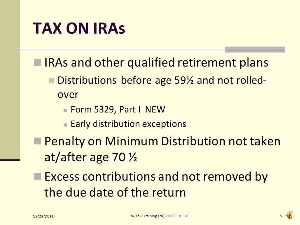 TAX ON UNREPORTED TIPS SS and Medicare tax due on: Employer allocated tips from W-2 Box 8 Unreported tips of $20 or more per month Tips of less than $20 per month: Not subject to SS or Medicare tax Do not need to be reported to employer All unreported tips listed on Form 4137 and transferred to Form 1040 Line 7 12/29/2011 4Tax Law Training (NJ) TY2011 v11.0
