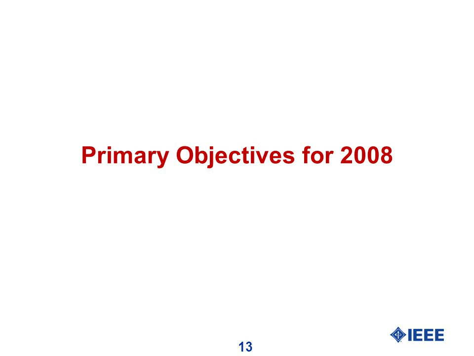 13 Primary Objectives for 2008