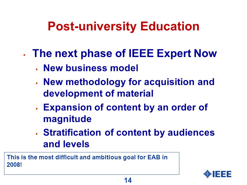 14 Post-university Education  The next phase of IEEE Expert Now  New business model  New methodology for acquisition and development of material  Expansion of content by an order of magnitude  Stratification of content by audiences and levels This is the most difficult and ambitious goal for EAB in 2008!