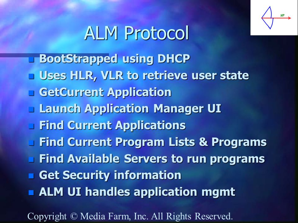 ALM Protocol n BootStrapped using DHCP n Uses HLR, VLR to retrieve user state n GetCurrent Application n Launch Application Manager UI n Find Current Applications n Find Current Program Lists & Programs n Find Available Servers to run programs n Get Security information n ALM UI handles application mgmt Copyright © Media Farm, Inc.