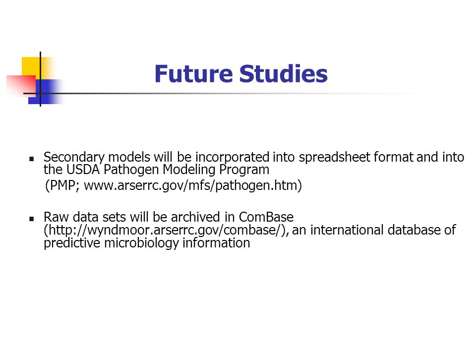 Future Studies Secondary models will be incorporated into spreadsheet format and into the USDA Pathogen Modeling Program (PMP; www.arserrc.gov/mfs/pathogen.htm) Raw data sets will be archived in ComBase (http://wyndmoor.arserrc.gov/combase/), an international database of predictive microbiology information
