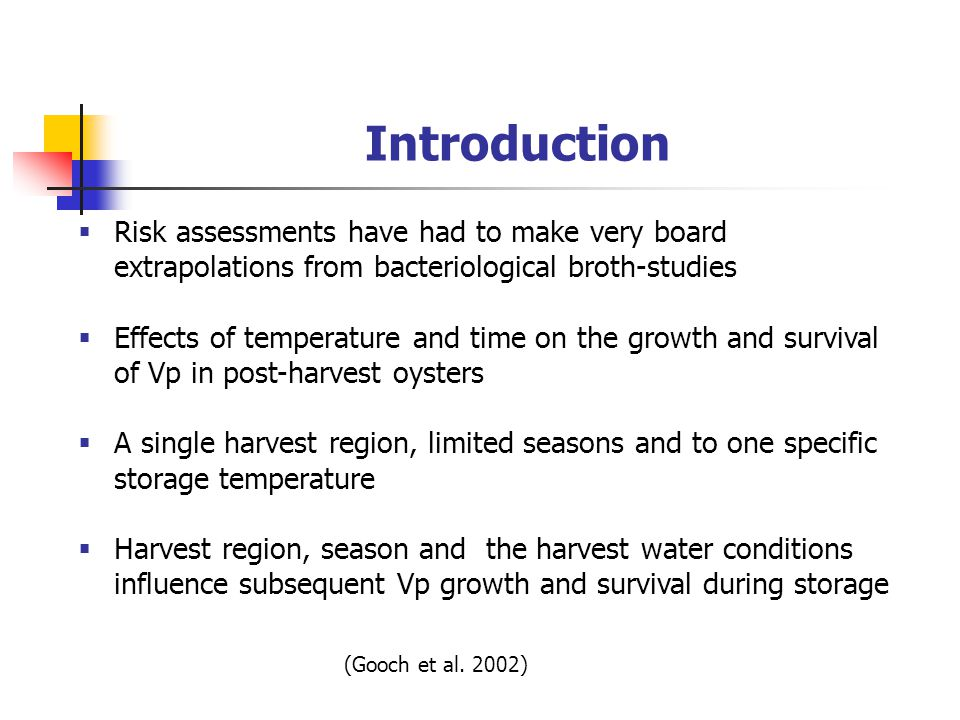 Introduction  Risk assessments have had to make very board extrapolations from bacteriological broth-studies  Effects of temperature and time on the growth and survival of Vp in post-harvest oysters  A single harvest region, limited seasons and to one specific storage temperature  Harvest region, season and the harvest water conditions influence subsequent Vp growth and survival during storage (Gooch et al.