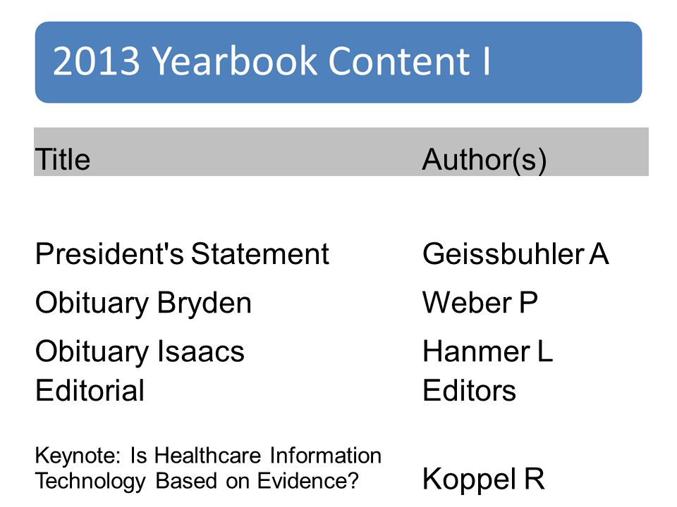 TitleAuthor(s) President s StatementGeissbuhler A Obituary BrydenWeber P Obituary IsaacsHanmer L EditorialEditors Keynote: Is Healthcare Information Technology Based on Evidence.