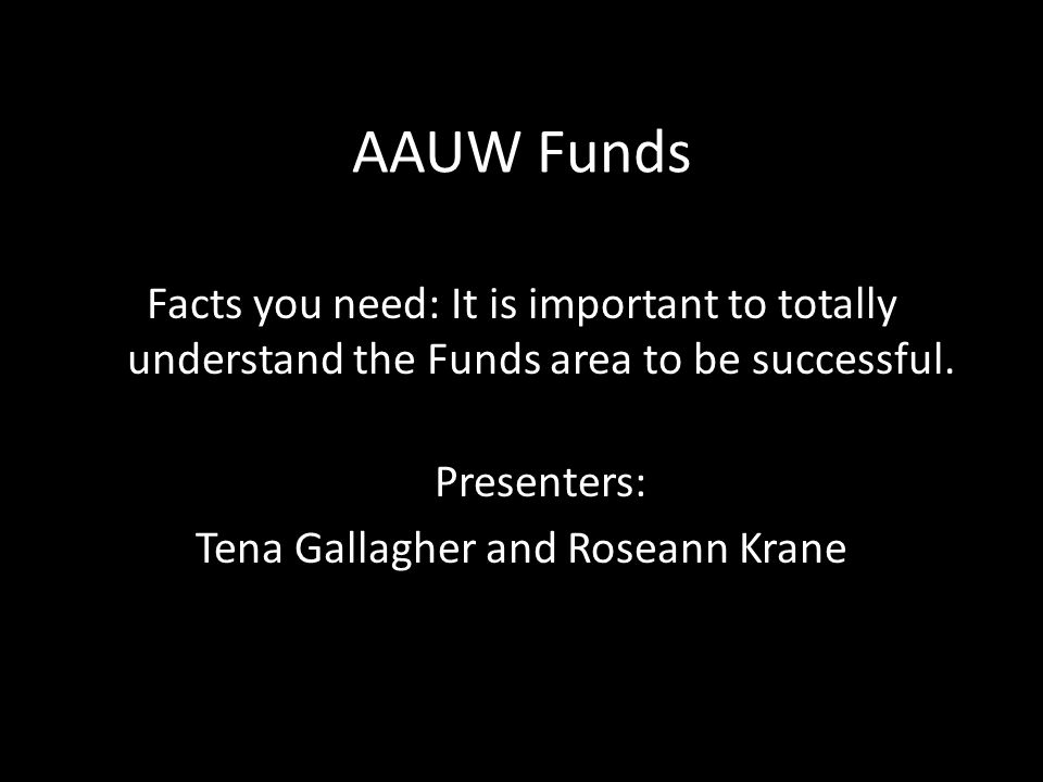 The Eleanor Roosevelt Fund (#9170) The Eleanor Roosevelt Fund supports AAUW research to provide analysis, data, and accurate information about issues that are important to women and girls.