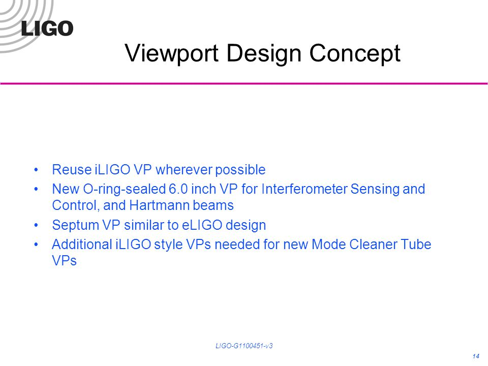 Viewport Design Concept Reuse iLIGO VP wherever possible New O-ring-sealed 6.0 inch VP for Interferometer Sensing and Control, and Hartmann beams Septum VP similar to eLIGO design Additional iLIGO style VPs needed for new Mode Cleaner Tube VPs 14 LIGO-G1100451-v3