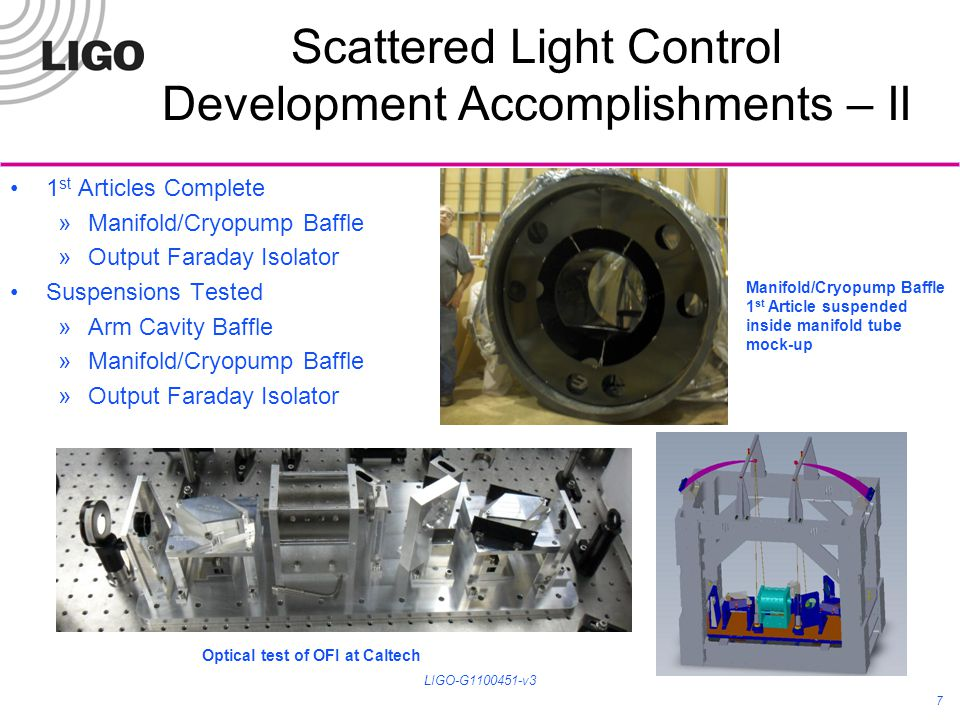 Stray Light Control Development Status Completed Output Faraday Isolator Final Design Review – Oct 2010 Completed Arm Cavity Baffle Final Design Review – April 2011 Most designs and drawings are complete All other SLC baffles and beam dumps Final Design Review – June 2011 8 LIGO-G1100451-v3