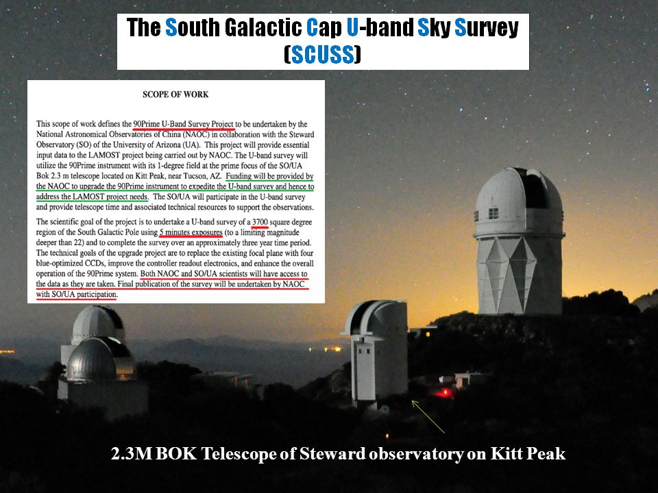 2.3M BOK Telescope of Steward observatory on Kitt Peak
