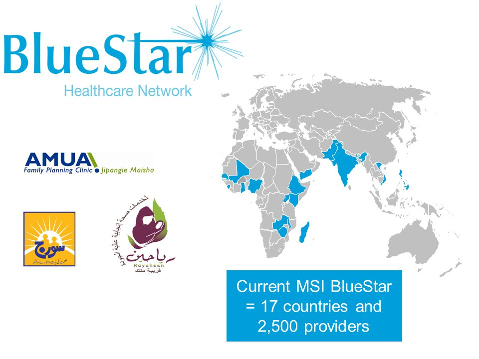 Current MSI BlueStar = 17 countries and 2,500 providers