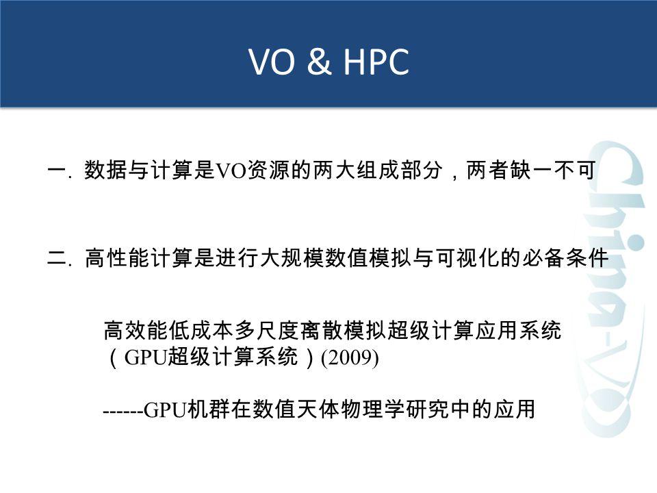 VO & HPC 一.数据与计算是 VO 资源的两大组成部分,两者缺一不可 二.