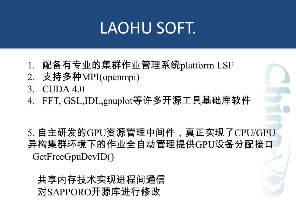 LAOHU SOFT.1. 配备有专业的集群作业管理系统 platform LSF 2.