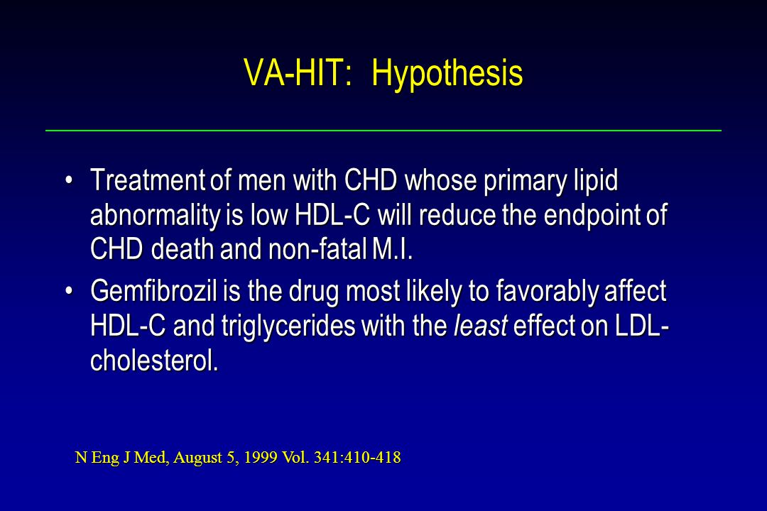 VA-HIT: Hypothesis Treatment of men with CHD whose primary lipid abnormality is low HDL-C will reduce the endpoint of CHD death and non-fatal M.I.Treatment of men with CHD whose primary lipid abnormality is low HDL-C will reduce the endpoint of CHD death and non-fatal M.I.