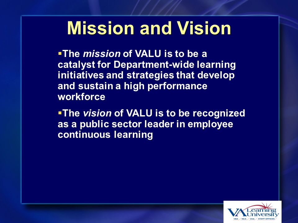 VA Learning University Goals  Provide centralized leadership for learning initiatives spanning VA Administrations and Staff Offices  Provide a state-of-the-art learning infrastructure for all employee  Coordinate various educational entities within VA to leverage educational resources  Facilitate internal and external learning partnerships  Provide centralized leadership for learning initiatives spanning VA Administrations and Staff Offices  Provide a state-of-the-art learning infrastructure for all employee  Coordinate various educational entities within VA to leverage educational resources  Facilitate internal and external learning partnerships
