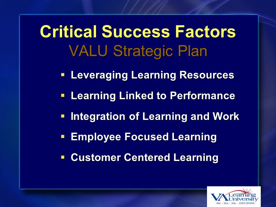 VALU Priorities  Learning Technology Infrastructure  Leadership Development  Mandatory Training  Cross-cutting Career Fields –Acquisitions –Finance –Human Resources –Information Technology –Public Affairs VALU Communications  VACO Education  Other Emerging projects